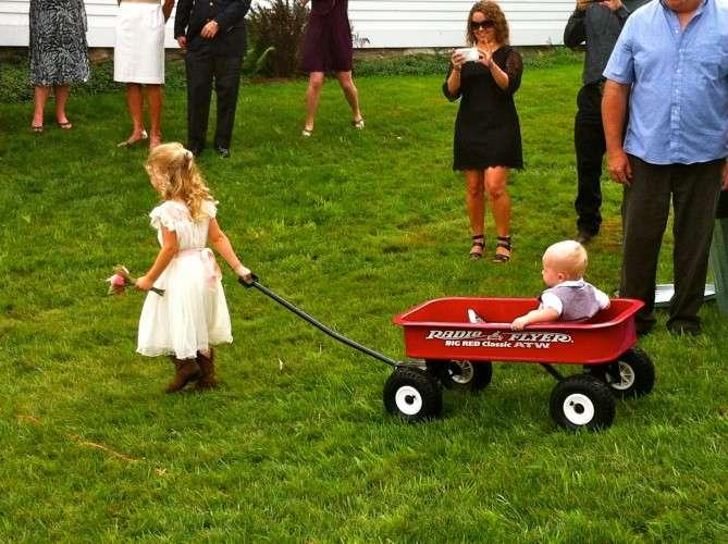 Flower girl and wagon