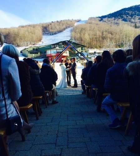 Homade Ski Arbor, bride in Ski Boots!